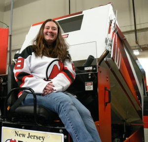 Kim on the New Jersey Devils Zamboni