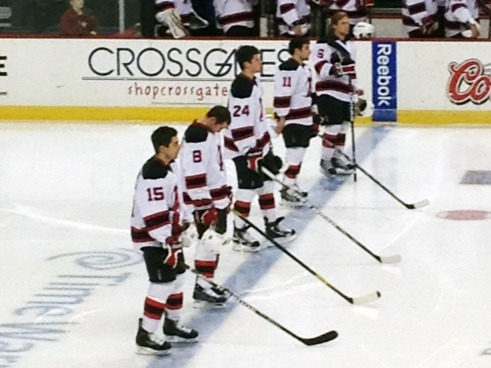 Albany Devils Starting Line Up During Anthem